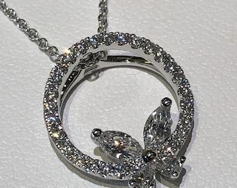 Diamond Pendant Necklace ,Diamond Butterfly Necklace,18kt White Gold ,.51ct. diamonds,Pristine Custom Ringsjewelry gifts