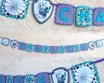 Paw Patrol Banner Everest Birthday Decor Girl