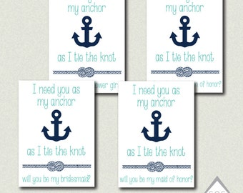 Anchor Be my Bridesmaid Card, Will You Be My Bridesmaid?, Nautical Be My Maid of Honor, Printable Be my Flower Girl, Matron of Honor