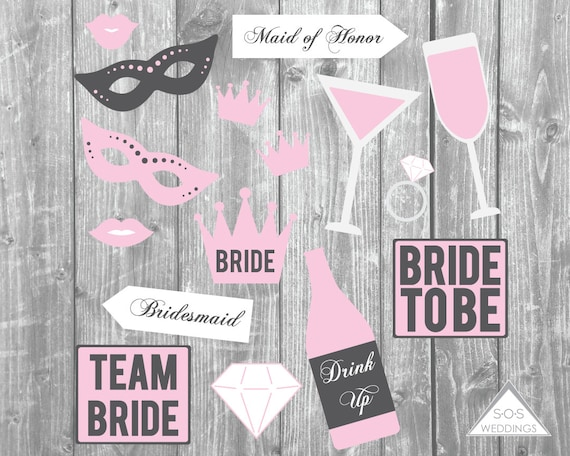 Pink Bridal Shower Photo Booth Props Bachelorette Photobooth