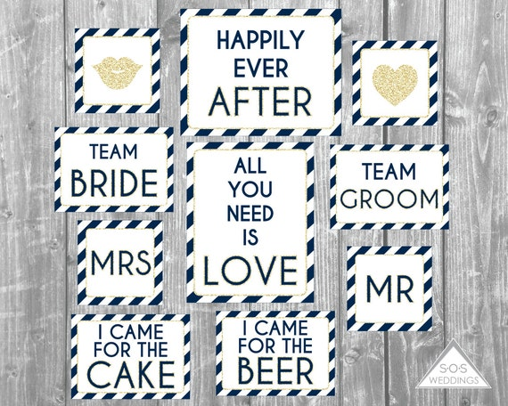 Wedding Photo Booth Signs Glitter Photobooth Props Navy And Etsy