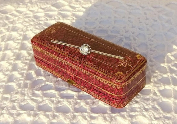 1930/'s Vintage French Jewellery with Antique Brooch Box. Vintage French Sapphire Paste Jewelry Antique French Art Deco Silver Brooch