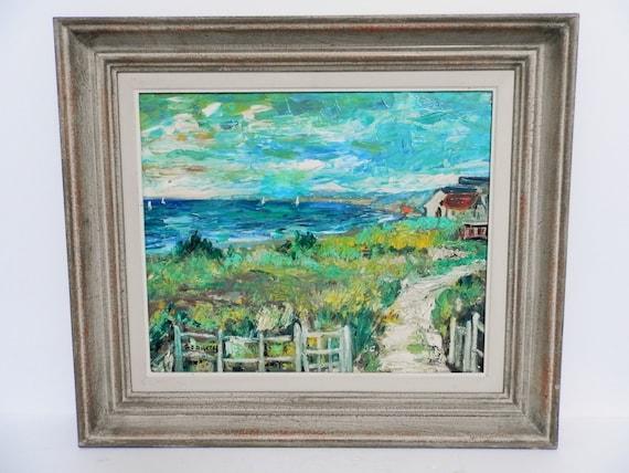 peinture à l'huile impressionniste Français vintage. Français impressionnisme. Artiste G. J. DUCRY. Navigation à l'extérieur du Touquet. Décor à la
