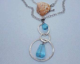 Sterling Silver Chain Necklace with Blue Topaz Semi Precious Stones