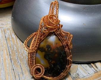 Wire Woven Pendant of Piranha Agate Semi-Precious Stone