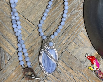 Blue Lace Agate Wire Woven Pendant on Blue Lace Agate Beaded Necklace