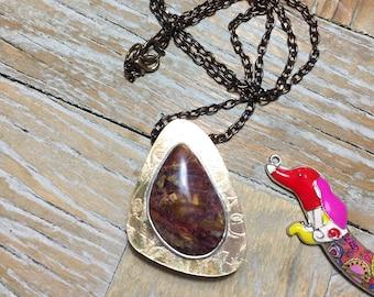Copper, Brass Box Pendant with Pietersite Semi Precious Stone on a Chain
