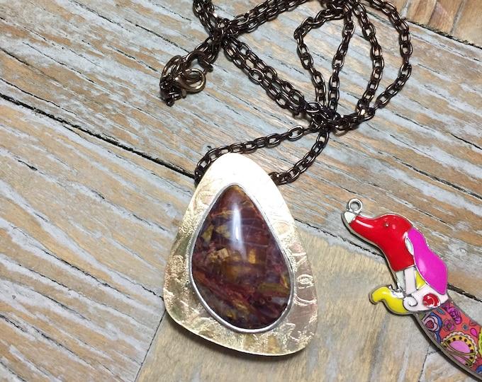 Featured listing image: Copper, Brass Box Pendant with Pietersite Semi Precious Stone on a Chain
