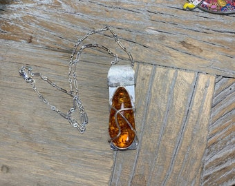 Amber Pendant in Sterling Silver with Sterling Silver Chain