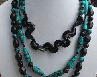 Turquoise and Onyx Three Strand Necklace