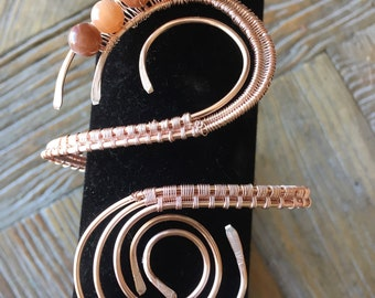 Rose Wire Woven Anklet or Armband with Pink Moonstone Beads