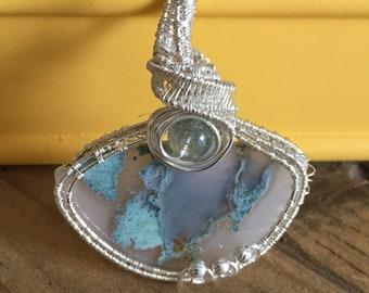 Moss Agate pendant Wire Wrapped with a Phantom Quartz Bead