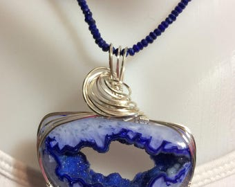 Lapis Beaded Necklace with Agate Druzy Wire Wrapped Pendant