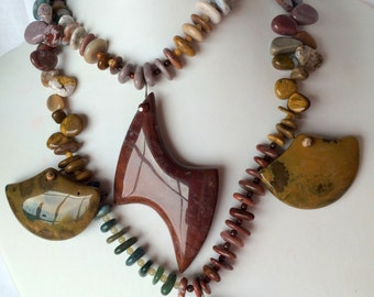 Choker Style Beadwork Necklace of Ocean Jasper with Lightening Bolt Pendant
