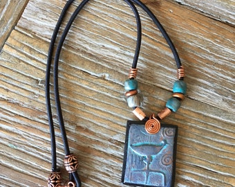 Tribal Clay Pendant on Rope