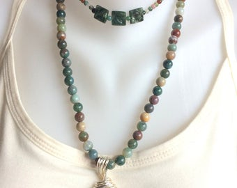 Indian Agate Beaded Necklace With Amazing Ocean Jasper Pendant