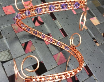 Copper Wire Wrapped Arm Band with Lavender Swarovski Crystal