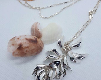 Sterling Silver Calla Lilly Pendant with Pearls