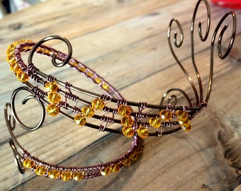 Bronze Wire Anklet with Yellow Crystals