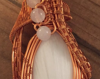 Copper Wire Wrapped Pendant, Scolecite and Moonstone Beads