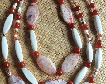 Multi Strand Crab Agate Beaded Necklace