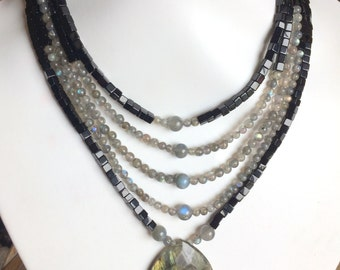 Beaded Necklace of Labradorite and Obsidian Multi Strand Style