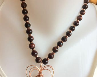 Tiger Iron and Copper Beaded Necklace with Copper Wire Wrap Pendant