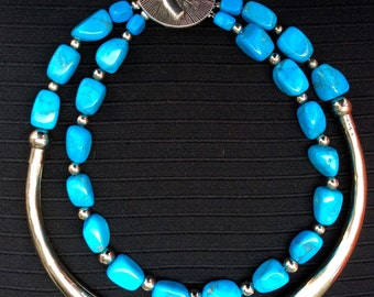 Turquoise and Silver Choker Necklace