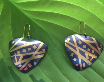Keum-boo Earrings with 24 karat Gold Foil Diffused on Blackened Silver