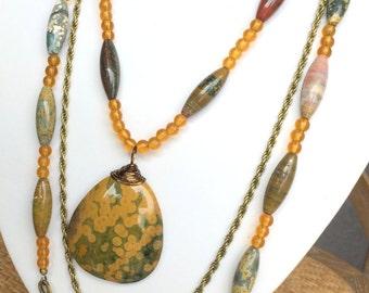Ocean Jasper Boho Style Beaded Necklace