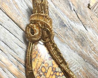 Wire Wrapped Pendant of Leopard Skin Jasper
