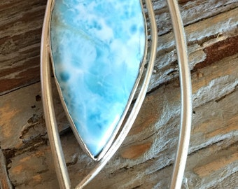 Larimar and Amethyst in Sterling Silver Handmade Pendant