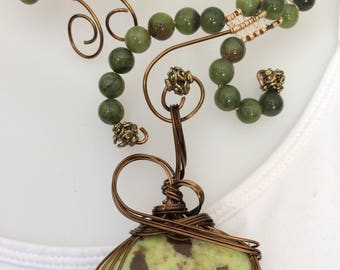 Wire Wrapped Bronze Wire Choker Necklace with Serpentine Beads and Green Opal Wire Wrapped Pendant