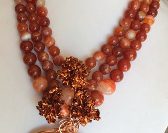 Copper and Orange Agate Beaded Necklace with Wire Wrapped Pendant