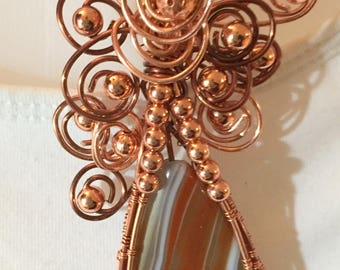 Botswana Agate Pendant Wire Wrapped in Copper with Copper Choker