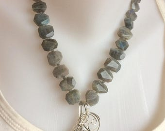 Lovely Labradorite Beaded Necklace and Wire Wrap Pendant