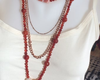 Copper and Carnelian Necklace Beaded Boho/Hippie Style Long Necklace