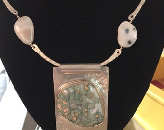 Ocean Jasper Cabochon set in Sterling Silver Pendant on Sterling Silver Chain