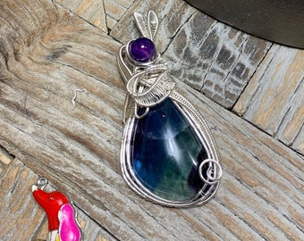 Fluorite Wire Wrapped Pendant with Purple Agate Bead