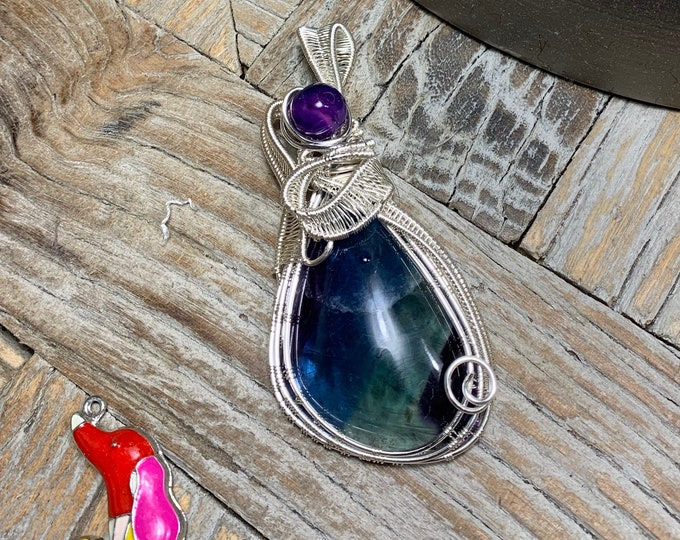 Featured listing image: Fluorite Wire Wrapped Pendant with Purple Agate Bead