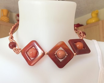 Copper and Carnelian Wire Wrapped Choker Boho Style