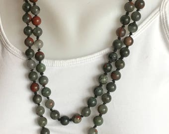 Beaded Mala Necklace with Guru Bead with African Bloodstone Beads for Prayer/Meditation
