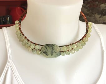 Green Prehnite Beaded Wire Wrapped Choker