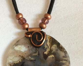 Plume Agate Pendant with Copper Elements on Leather Rope