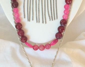 Vibrant Fuchsia Bohemian Style Chain and Beaded Necklace