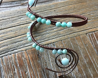 Armband Wire Woven with Peruvian Amazonite Beads