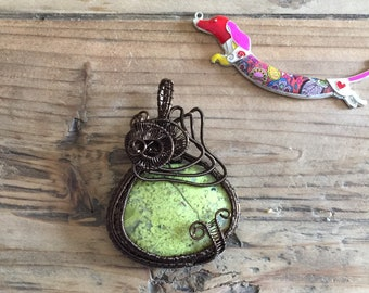 Wire Wrapped African Opal Pendant