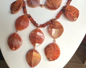 Copper and Crab Agate Beaded Necklace