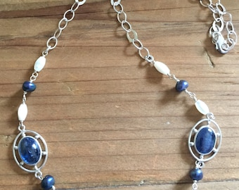 Silver Chain Necklace of Kyanite and Mother of Pearl Semi Precious Stones by Wind n' Water Designs