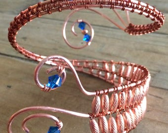 Copper Wire Wrapped Arm Band with Blue Swarovski Crystals